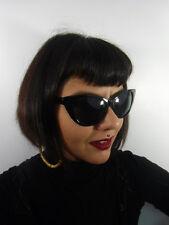 Lunettes de soleil papillon noires cats eyes retro vintage pinup verres gris