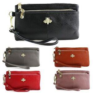 Ladies Women's Wristlet Bee Purse Zip Closure Soft Leather Wallet Purses New UK