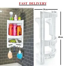 Strong 3 Tier Bathroom Corner Shelf Organiser Rack Wall Hanging Storage Plastic