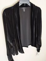 Style & Co Black Stretch Velvet Open Jacket Cover Up Ruched Long Sleeve Sz L NWT