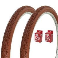 "2- CLAY 26"" x 2.125"" BEACH CRUISER BIKE WANDA BICYCLE DIAMOND TIRES/ 2- TUBES"