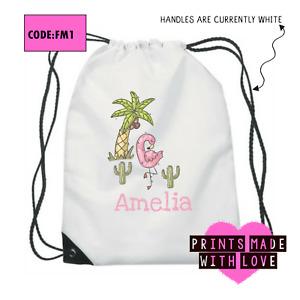 Personalised flamingo school bag , PE bag , football , ballet , swim bag