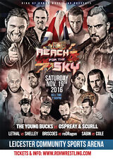 """Official ROH Ring of Honor """"Reach for the Sky Tour: Leicester"""" UK A2 Poster"""