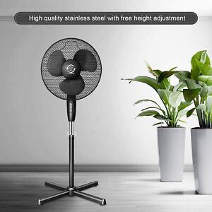 Ventilateur sur Pied Silencieux Rotatif 3 Vitesses Oscillant 120° Réglable Ø40cm