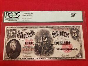 1907 $5 Fr 91 Legal Tender Wood Cutter Note Pcgs Vf 35