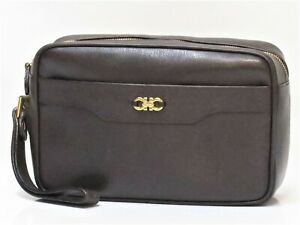 Auth Salvatore Ferragamo Clutch Bag Small Purse Brown Italy 18623970