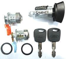 Ford Ignition Switch Lock Cylinder + Pair (2) Door Lock Cylinder W/2 Chip Keys