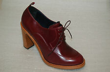 WOMAN - 39½ - LACEUP DERBY -BURGUNDY ROANO CALF - HEEL H.9cm - LEATHER SOLE
