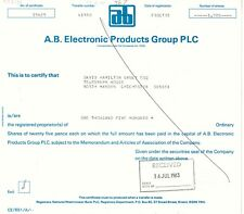 UNITED KINGDOM, 1982, A.B. ELECTRONIC PRODUCTS GROUP PLC, Zertifikat über 1.500