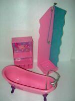 Lot of Light Pink Barbie Doll Furniture Shower Bathtub Shelf Mattel Pretend Play