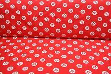 NEU  Kinder Jersey Stoff Stoffe Meterware Sterne Rot Weiß 1 Meter