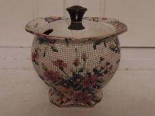 Vintage Royal Winton Chintz Queen Anne Jam Jar w/Silverplate Lid Silver
