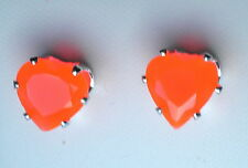 Orange Faceted Glass Claw Set Silver Tone Heart Stud Earring 8 x 8mm