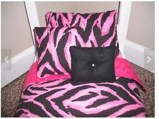 4-piece Bedding set Pink Zebra print fits 18 inch Girl doll beds