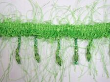 E2664 ~ LIME GREEN  EYELASH ~ BEADED GIMP FRINGE  TRIM