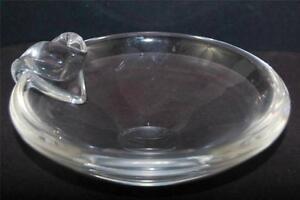 Steuben Signed 1950's Designer David Hill Crystal Art Glass Ashtray MCM