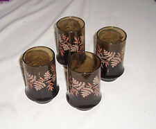 Lot 4 Water Glasses Smoky Brown w Tan Beige Ferns Cambridge marked C
