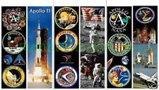 3 Set-BOOKMARKS-APOLLO Nasa MOON Mission PLANET Outer Space Travel Walk Emblem
