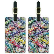 Rainbow Colorful Geckos Lizards Luggage Id Tags Carry-On Cards - Set of 2