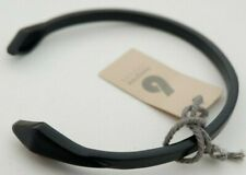 Black Coloured Metal Bracelet - Simple Band Bangle - Shaped End - DesignSix