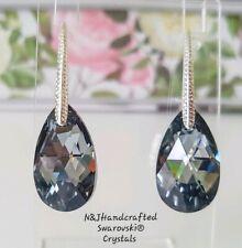 Crystal earrings Drop Earrings Genuine Swarovski element Silver night 22mm