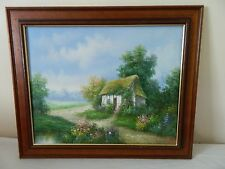 Vintage oil painting of a cottage in woods - signed
