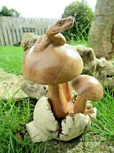 Hand Carved Made Wooden Mushroom Snake Reptile Parasite Statue Ornament