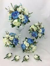 Hand-tied Artificial Flower Light Blue/Cream Peony/Roses Wedding Bouquet Set