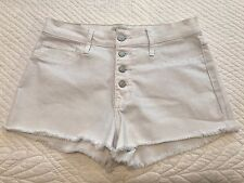 Abercrombie & Fitch White Button Front High Waisted Denim Jean Shorts Sz 8