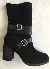 $115 NWB SBICCA Windmill Suede Leather Dress Boots Sz 7.5 BLACK Buckle Detail