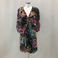 Ted Baker Shift Dress Womens Size UK 16 Black Floral Patterned Formal 290469
