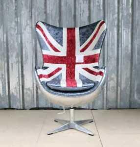 UNION JACK VELVET AVIATOR ALUMINIUM TILT SWIVEL ROCKER EGG CHAIR BRITISH FLAG