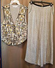 Vintage 80s Platinum Dorothy Schoelen Vest/Pilazzo Pant Set Abstract/African M/8