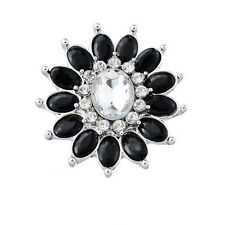 White black Sunflower Rhinestone Charm Chunk Snap Button fit for Noosa Bracelet