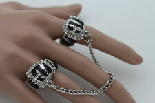 Women Silver Metal Chains Rings Trendy Fashion Jewelry Band 2 Fingers Zebra Belt