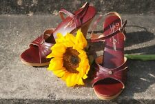 1970s Aigner 8.5 Strappy Heels Oxblood Leather Wood Italy