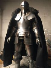 """1:6 Scale Black a royal knight fur collar cloak For 12"""" Male Body Doll Toy"""
