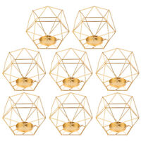 8pcs IRON GEOMETRIC PILLAR CANDLE HOLDER CAGE LANTERN WEDDING EVENTS Golden