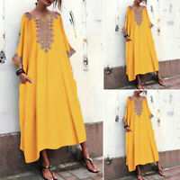 Women Long Batwing Shirt Dress Oversize Full Length Maxi Dress Kaftan Tops Plus