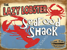 Lazy Lobster Seafood Shack Metal Sign, Kitchen, Pool, Den, Bar Decor