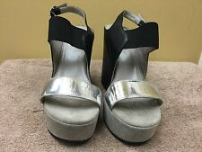 Kenneth Cole collection women shoes Leather wedge Sandals -Black/Gray EUR 39