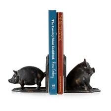 Set 2 Cast Iron Pigs Bookends Book ends Bedroom Office Shelf Farm Pig Kids Decor