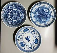 Signed Antique Chinese Blue White Porcelain Dish Set 3 Export Dishes Plates 6.5""