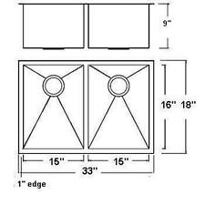"33"" Heavy Duty 16 Gauge Zero Radius Kitchen Sink COMBO 50/50 split bowl - 3318AD"