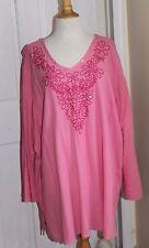 NEW Susan Graver Embroidered Pink Sequin Breezy Cotton Gauze Tunic Top Sz 3X