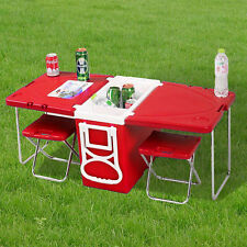 Red 28L Foldable Rolling Cooler Cool Box &Table+2 Chairs,For Camping Picnic