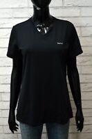 REEBOK Maglia Nera Donna Taglia XL Slim Maglietta Manica Corta Shirt Woman Black