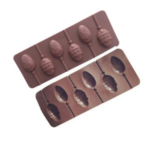 Silicone Easter Egg Bunny Lollipop Chocolate Mould Ice Cube Jelly Lolly 6 Sticks