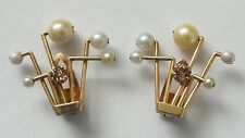 Antiguo Diamond & Pearl 18 CT Oro Pendientes De Clip