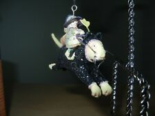 """Patience Brewster Krinkles Halloween 3"""" Ornament - Flying Witch on Midnight Cat"""